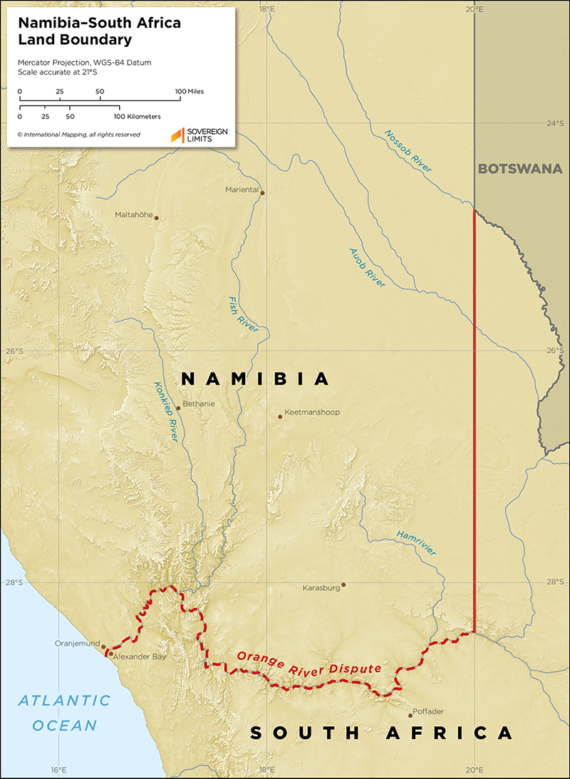 Map showing the land boundary between Namibia and South Africa