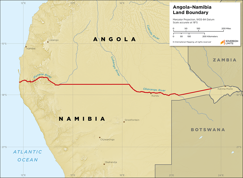 Map showing the land boundary between Angola and Namibia