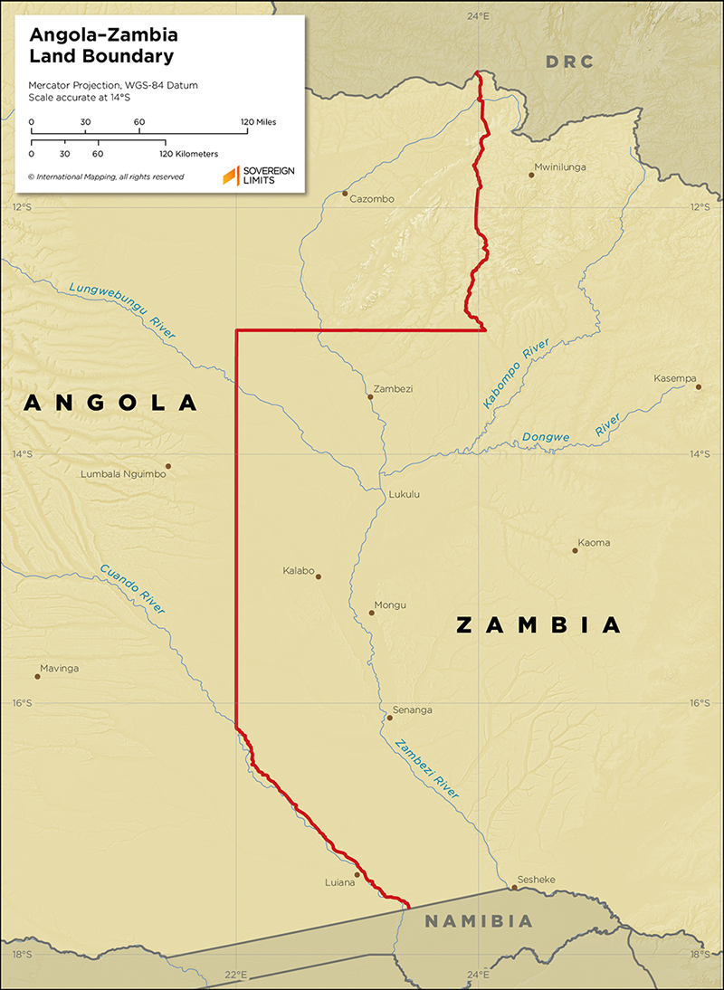 Map showing the land boundary between Angola and Zambia