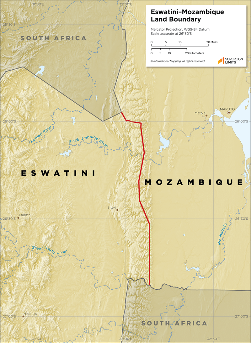 Map showing the land boundary between Eswatini and Mozambique
