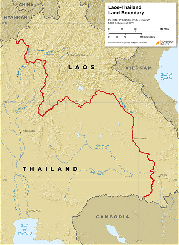 Map showing the land boundary between Laos and Thailand