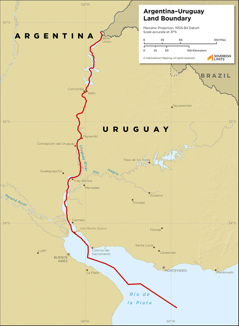 Map showing the land boundary Argentina and Uruguay