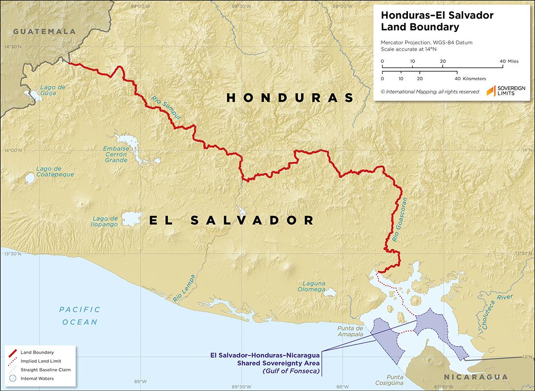 Map showing the land boundary between El Salvador and Honduras