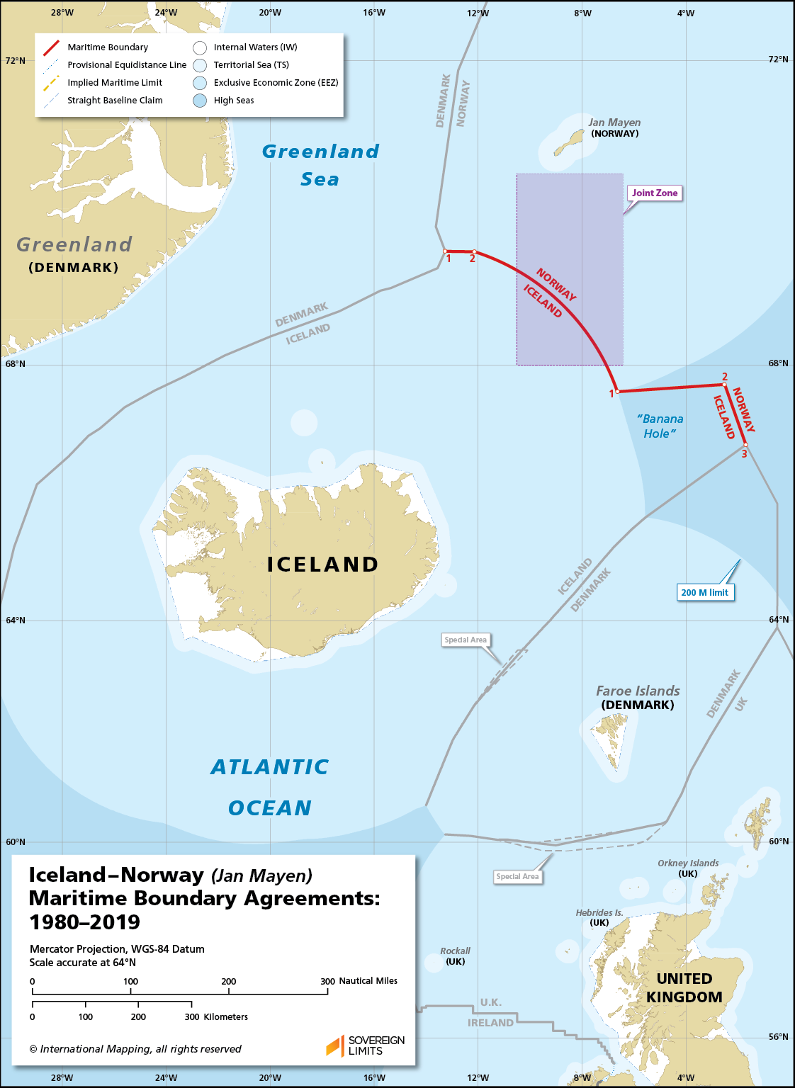 Map showing the maritime boundary between Iceland and Norway