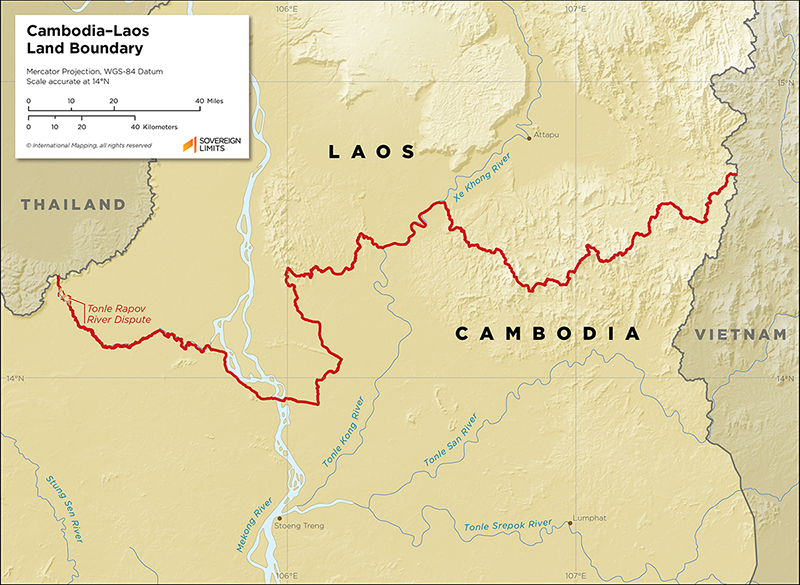 Map showing the land boundary between Cambodia and Laos