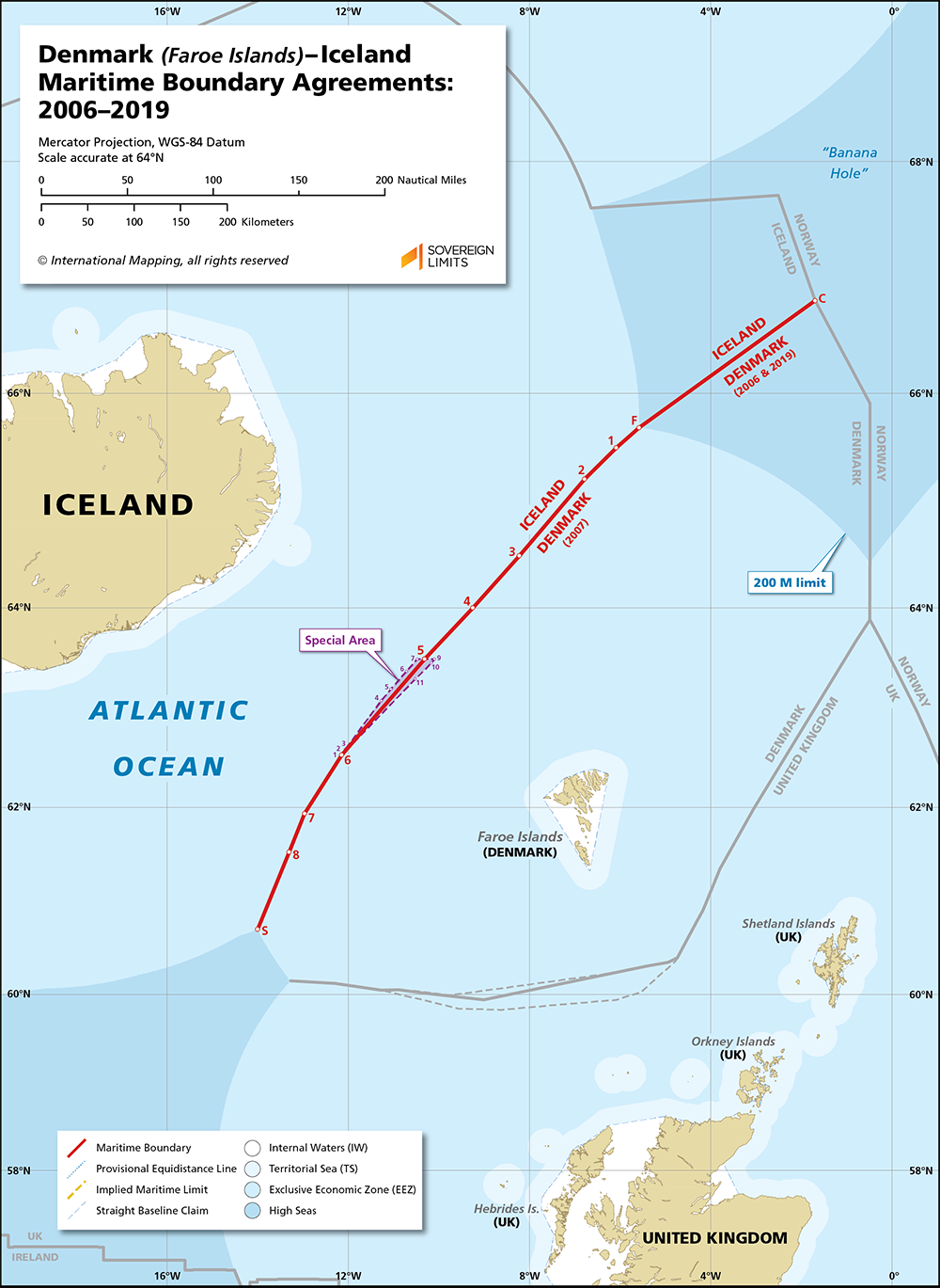 Map showing the maritime boundary between Denmark and Iceland